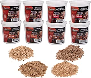 Camerons Wood Smoking Chips Value Gift Set - Set of 8 Pints of Extra Fine Cut Sawdust Smoker Chips (2 Oak, 2 Cherry, 2 Hickory, 2 Alder)
