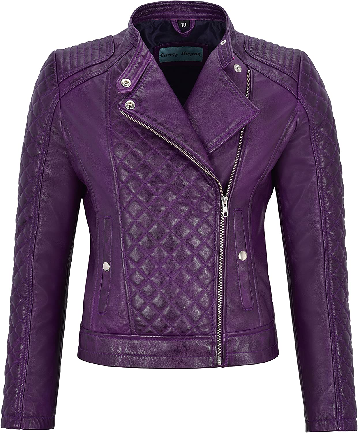 Woman's Real Leather Jacket Purple Biker Style Fitted Diamond Shape Front Panel