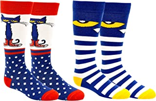Pete the Cat Socks (Youth) (2 Pair) - Pete the Cat Gifts Girls & Boys Knee High Socks - Fits Shoe Size: 9-3 (Kids)