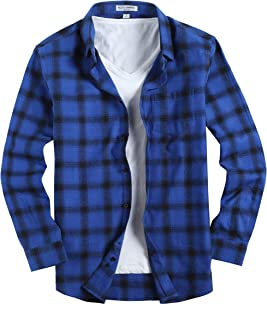 Mens Casual Button Down Shirts Slim Fit Long Sleeve Flannel Shirt