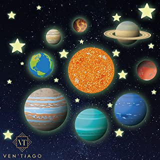 Ven'Tiago Glow in The Dark Planets and Stars, 9 Bright Solar System Planets and Sun, Light up The Night with Our Glowing Ceiling Sticker Decals, for Boys and Girls Bedroom & Living Room