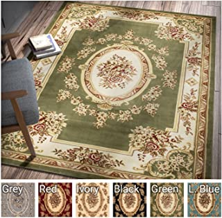 Pastoral Medallion Green French Area Rug European Formal Traditional Area Rug 7' x 9' Easy Clean Stain Fade Resistant Shed Free Modern Classic Contemporary Thick Soft Plush Living Dining Room Rug