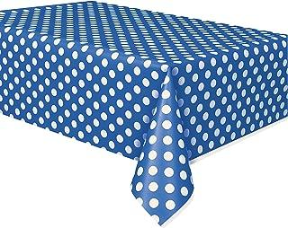 Royal Blue Polka Dot Plastic Tablecloth, 108
