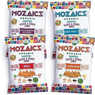 Mozaics Organic VARIETY - Popped Veggie & Potato Chips (12-pack)   Healthy Pea Protein Crisps   Gluten free (0.75 oz singl...