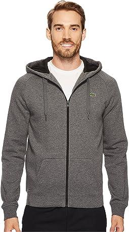 Brushed Fleece Full Zip Hoodie Sweatshirt with 3D Print On Hood