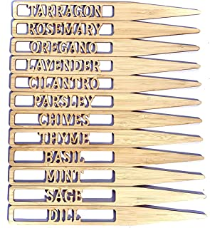 10 Inch Tall Bamboo HERB Markers for Garden - Indoor and Outdoor use - Set of 12 Herb Garden Markers - 12 x 10 Inch Tall B...