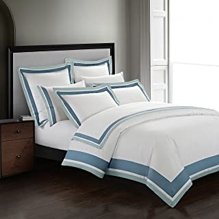 Casabolaj Shading 3 Pieces Duvet Cover Set 100% Egyptian Cotton Sateen Luxury 400 Thread Count-Classic and Contemporary Frame Patchwork Button Closure and Corner Ties-White/Blue/Sapphire (King)