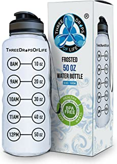 Three Drops of Life New 50oz Large Sport Water Bottles, Best Frosted Clear Plastic Bottle for High Capacity Hydration Tracker, Smart Remind Time Marker - Light, Reusable, Leak Proof, Drink BPA Free