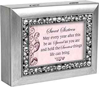 Sweet Sixteen Brushed Silver Jeweled Inlay Jewelry Music Box Plays You Light Up My Life