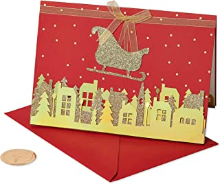 Papyrus Holiday Cards Boxed, Gold Glitter Sleigh (8-Count)