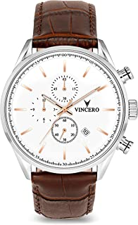Vincero Luxury Men's Chrono S Wrist Watch - Top Grain Italian Leather Watch Band - 43mm Chronograph Watch - Japanese Quartz Movement
