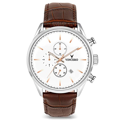 Vincero Luxury Mens Chrono S Wrist Watch - Top Grain Italian Leather Watch Band - 43mm