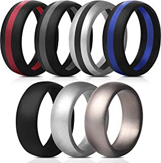 Saco Band Mens Silicone Rings Wedding Bands - 7 Pack / 1 Ring