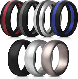 Mens Silicone Rings Wedding Bands - 7 Pack / 1 Ring