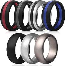 Saco Band Mens Silicone Rings Wedding Bands - 7 Pack / 1 Ring