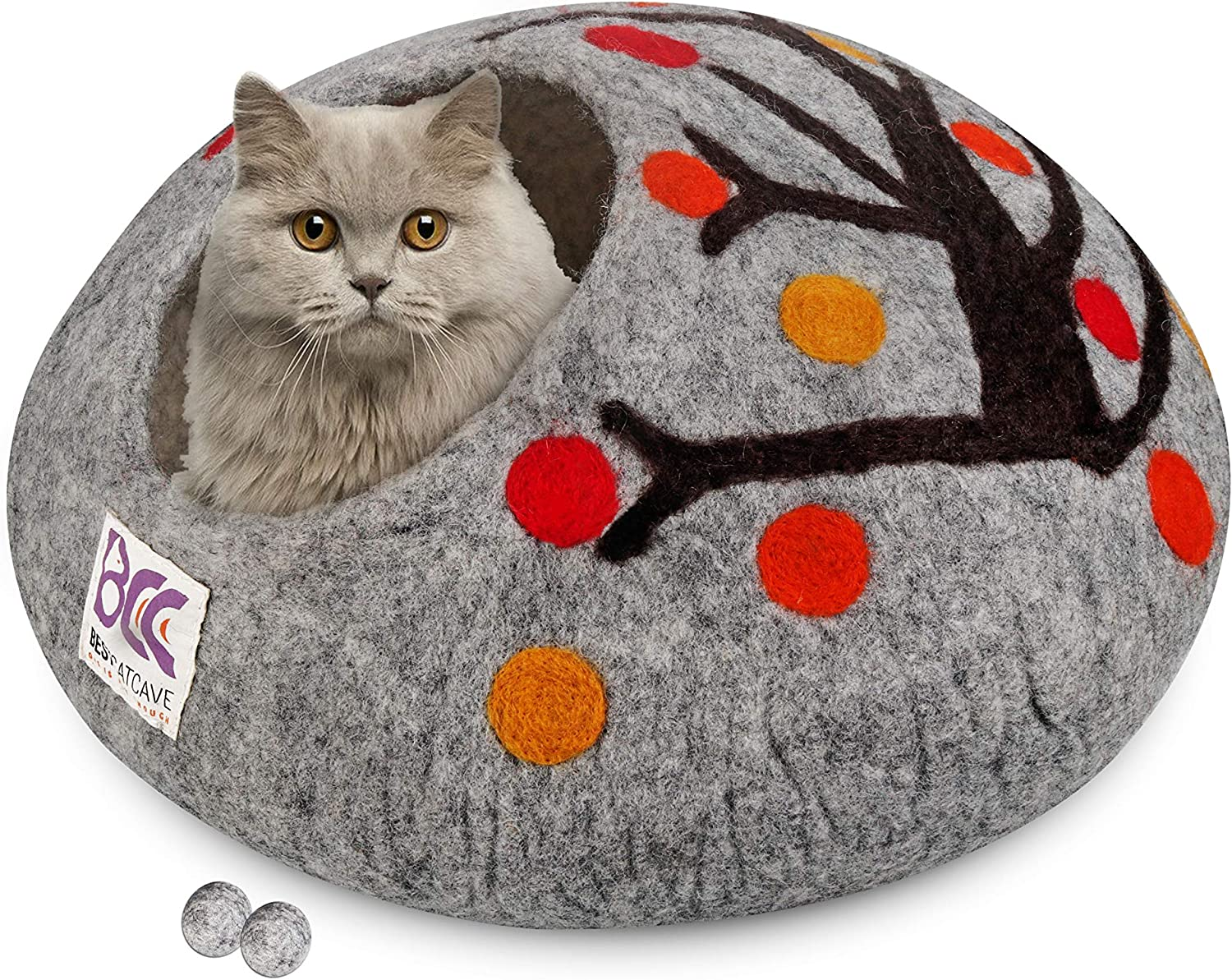 Large ~ Handmade Eco Friendly Natural Felted Merino Wool ~ Warm and Cozy Beds for Cats and Kittens ~ Bonus Felt Wool Ball Cat Cave Bed Orange, Pumpkin