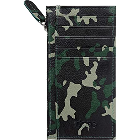 Zippo Leather Card Holder with Zipper Credit Card Case, 13 cm;,Green Camouflage