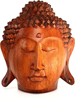 G6 Collection Wooden Serene Buddha Head Statue Hand Carved Meditating Sculpture Handmade Figurine Decorative Home Decor Accent Rustic Handcrafted Art Traditional Modern Contemporary Decoration