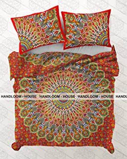 Hippie Hippy Reversible Quilt Cover Throw Coverlet Cotton Decor Bohemian Bedspread Duvet Doona Cover by Handloom House