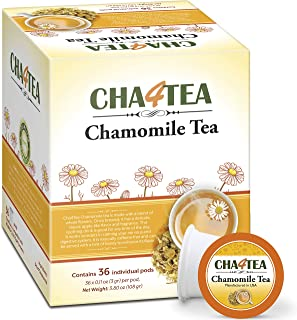 Cha4Tea 36-Count Pure Camomile Herbal Tea Pods for Keurig K-Cup Brewers - Bedtime/Sleep-well/Nightly Calm/Relaxing Tea