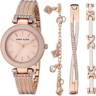 Women's Swarovski Crystal Accented Textured Bangle Watch and Bracelet Set, AK/3394