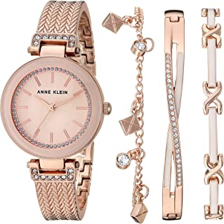 Women's Swarovski Crystal Accented Textured Bangle Watch...