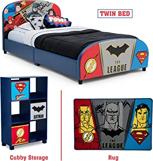 Delta Children – Justice League Twin Furniture Set, 3-Piece by DC Comics (Superman, Batman, Flash, Wonder Woman Upholstered Twin Bed   Storage Unit w/6 Cubbies and Bins   Flash, Batman and Superman