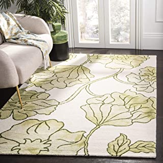 Safavieh Dip Dye Collection DDY683B Handmade Modern Floral Watercolor Ivory and Light Green Wool Area Rug (3' x 5')