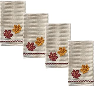 "Lintex Autumn Leaves 4 Piece 100% Cotton Oversized Dish Towel Set - Absorbent Harvest Leaf Set of 4 Large 16"" x 28"" Thanksgiving, Autumn, Fall Fast Drying Kitchen Towels, Autumn Leaves 4 Pack"
