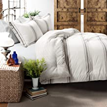 Lush Decor, Gray Comforter Farmhouse Stripe 3 Piece Reversible Bedding Set, King