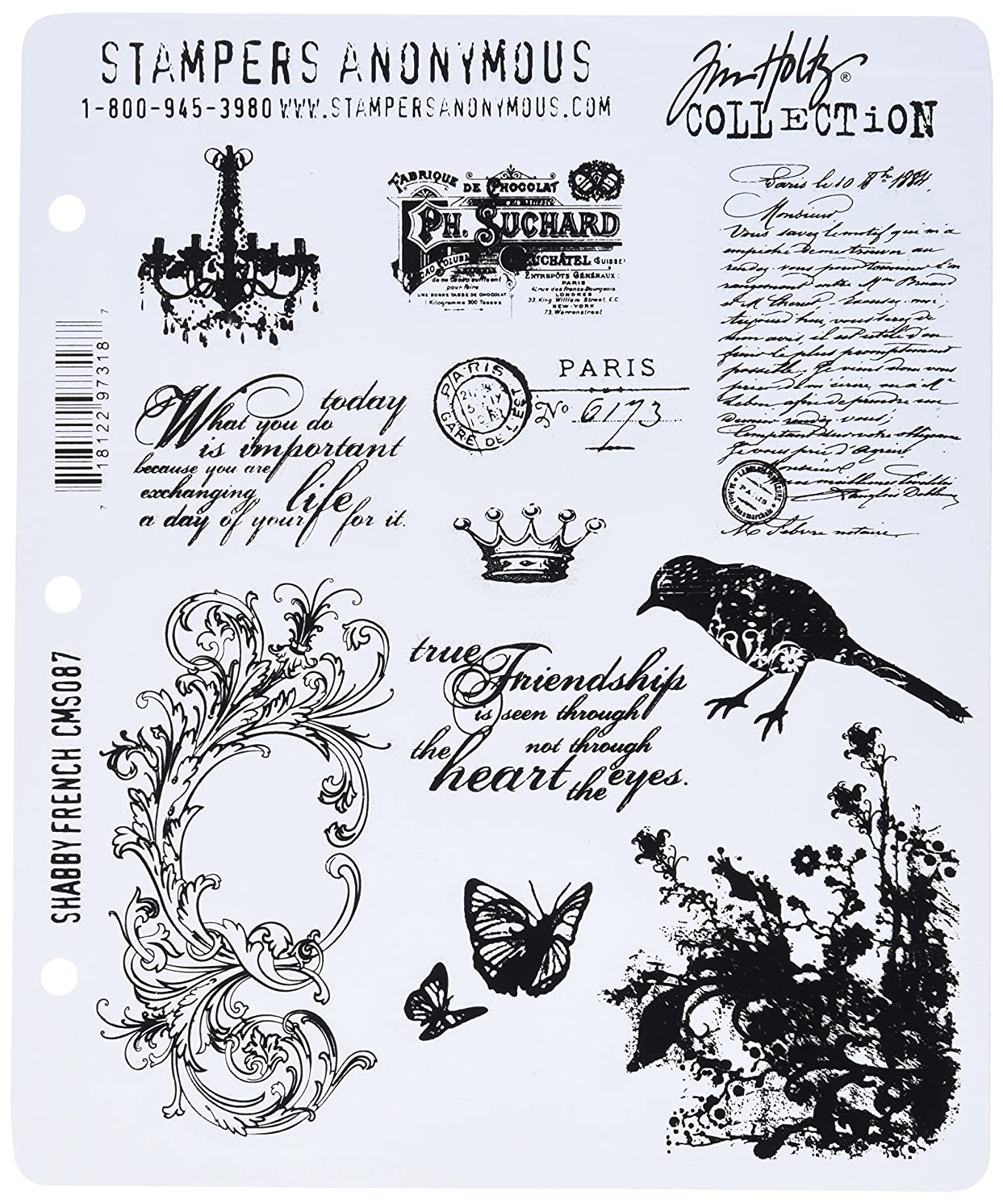 Stampers Anonymous Tim Holtz Large Cling Rubber Stamp Set, Shabby French