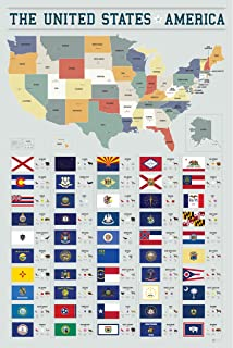 Pop Chart Lab PA3-USA 50 Flags of The United States of America by Manhattan & Ash Poster Print, 24