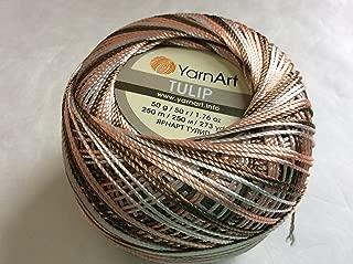 Variegated Salmon Pink, Brown, White - Yarn Art Tulip Size 10 Microfiber Thread - 50 Gram
