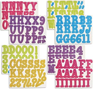 Juvale 144-Count Alphabet Letters and Numbers Cutouts for Classroom Bulletin Board, Assorted Colors