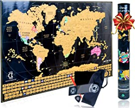 Scratch Off Map of The World Poster - Travel Map Tracker with US States Outlined and Country Flags, Bright and Vibrant Colors. Perfect Gift for Travelers. Includes Scratcher Tools. by Clever Indoor.