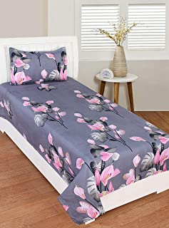 RD TREND Polycotton Single Bedsheet with 1 Pillow Cover (Blue)