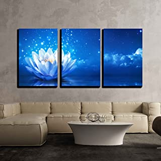 wall26 - 3 Piece Canvas Wall Art - Lotus Flower Floating on Water by Moonlight - Modern Home Decor Stretched and Framed Ready to Hang - 16