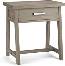 Simpli Home Sawhorse Solid Wood Bedside Table, Distressed Gray