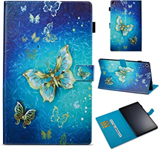 All-New Fire HD 10 2017 Case, GNT [Stand Feature] PU Leather Magnetic Stand Folio Wallet Case with [Cards Slots] for All-New Amazon Fire HD 10 Tablet (7th Generation,2017 Release)-Gold Butterfly