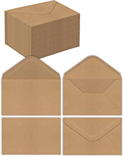 Kraft Mini Envelopes, 100-Pack, Strong 35 lb. Paper, Pointed Flap, Use with Gift Cards, Cash, RSVP Cards, Business Cards, ...
