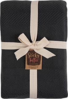 Sticky Toffee Woven Cotton Lightweight Full/Queen Size Blanket   Warm and Soft Blanket for Layering on Bed   Gray   80 in x 90 in