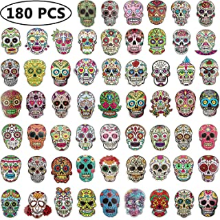 Sugar Skull Stickers Pack, Laptop Skull Decals for Dia De Los Muertos, Mexican Day of Dead Sticker for Water Bottle, Luggage, Bike, Computer, Skateboard Vinyl Decal Pack, 60 Styles (180 Pieces)