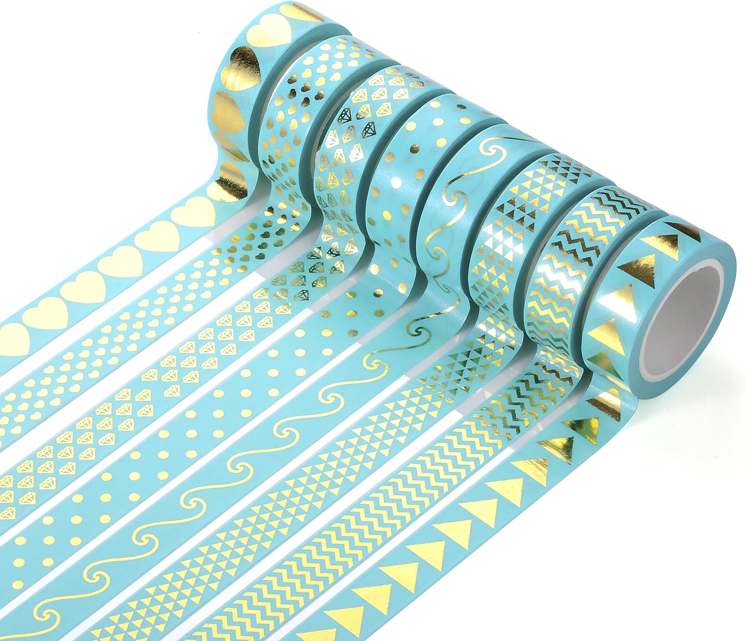 Set of 3-5mm x 10m Hearts Skinny Washi Tape Blue Hues and Foil Pattern