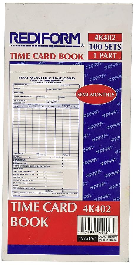 汚れる勉強する色合いRediform semi-monthly時間カード?–?Gummed?–?1パーツ?–?8?x 4.25シートサイズ?–?マニラ?–?100?/パッド 4 1/4 x 8