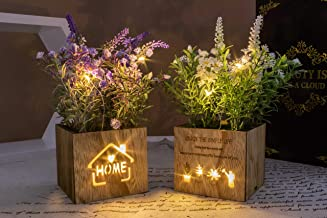 BEGONDIS Set of 2 Artificial Flowers with Led Lights in Wooden Box, Artificial Plants..