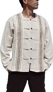 RaanPahMuang 长袖棉质手工开领木质纽扣衬衫