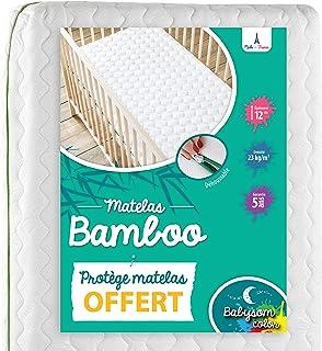 Babysom - Bambu babymadrass | barnmadrass vattentät madrasskydd gåva – 70 x 140 cm – natur – andas – överdrag avtagbart – ...