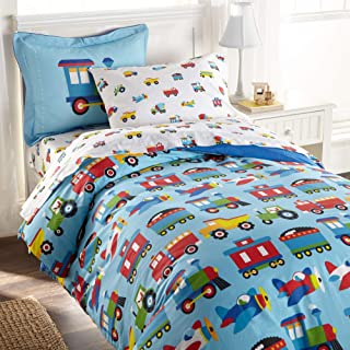 Wildkin Kids 100% Cotton Twin Duvet Covers for Boys and Girls, Kids Duvet Cover Measures 88 x 68 Inches, Features Button Closure and Interior Corner Ties, BPA-free, Olive Kids(Trains, Planes & Trucks)