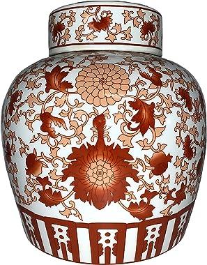 "Oriental Furniture Warehouse Chinese Red Coral Porcelain Jar 10"" H"