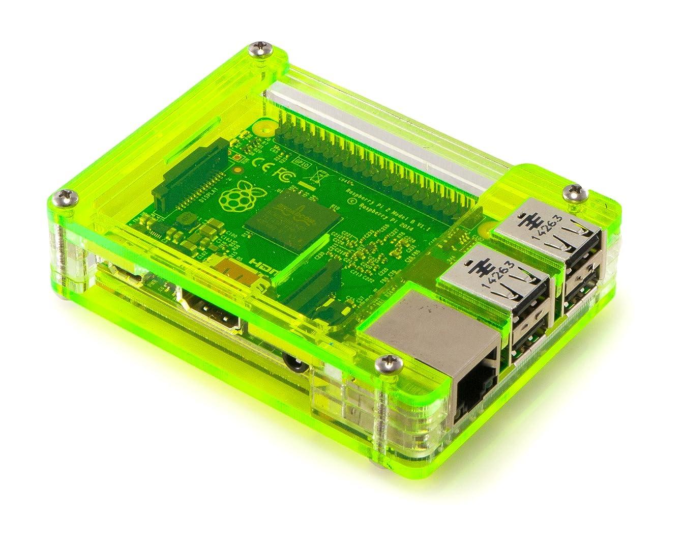 C4 Labs Zebra Case - Raspberry Pi 3, Pi 2, Pi B+ and 2B (Lazer Lime) with Heatsinks ~ C4Labs